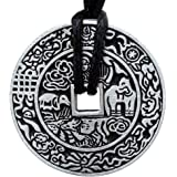 OhDeal4U Chinese Ancient i-Ching Coin Good Fortune Lucky Charm Pewter Pendant