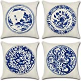 Homyall Blue and White Porcelain Cushion Covers Square Decorative Pillow Covers Cotton Linen Throw Pillow Covers Set of 4 Cus