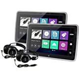 Elinz 2X 10.1 TFT Capacitive Touch Screen Active Headrest Car DVD Player Slim Full HD 1080P Video IR FM Speakers 8 Bit Games