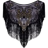 Vijiv Women's Vintage 1920s Flapper Shawl Sequin Fringe Gatsby Evening Bolero Cape