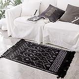 Moroccan 2 x 3 ft Area Rag Rug | Hand Woven Cotton Gray Chindi with Tassels Throw Rugs Door Mat Indoor Floor Area Rugs Living