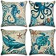 FLORICA Throw Pillow Case Cushion Cover Linen Home Decorative Ocean Theme 18 * 18in (Set of 4)