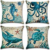 FLORICA Throw Pillow Case Cushion Cover Linen Home Decorative Ocean Theme 18 * 18in (Set of 4)