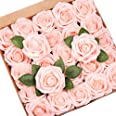 Mocoosy 50Pcs Artificial Rose Flowers, Blush Pink Roses Real Looking Foam Fake Roses Bulk w/Stem for Wedding Bouquets Centerp