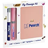 BIC My Message Kit Catpower - Stationery Set with 1 BIC 4 Colours Ball Pen, 1 BIC Highlighter Grip Pastel Pen - Pink, 1 Blank