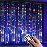 Anpro 4 Color Window Curtain String Light, Warm White & Multicolor 320LED Fairy Starry Lights USB Powered Remote & Timer Wate