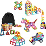 Ausear Portable 79pcs Magnetic Building Blocks Magnet Tiles Educational Stacking Blocks Toys Gifts with Wheels for Toddlers K