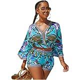 2 Piece Outfits for Women Summer Two Piece Crop Top Shorts Set Boho Floral Print Romper Jumpsuit