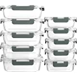 [10 Pack] Glass Meal Prep Containers with Lids-MCIRCO Glass Food Storage Containers with Lifetime Lasting Snap Locking Lids,