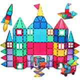 120Pcs Magnet Tiles, Clear Magnetic 3D Building Blocks, STEM Educational Magnet Toy Set, Construction Playboards, Creativity
