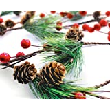 OLYPHAN Winter Garland Christmas Decoration of Red Berries, Pine Cones & Evergreen Pine Needle - Unlit Holiday Berry Décor fo