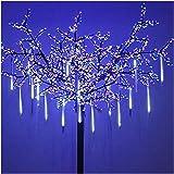 OMGAI LED Meteor Shower Rain Lights - Waterproof Drop Icicle Snow Falling Raindrop 30cm 8 Tubes Cascading Lights for Wedding