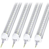 10Pack 8Ft LED Shop Light Fixture, 90W Integrated LED Tube Light,10000LM, 6500K, Clear Cover,High Output,Double Row V Shape 2