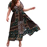 Xiang Ru Plus Size Boho Printed Patchwork Summer Dress Beach Cover Up for Women