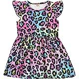 QLIPIN Toddler Baby Girl Princess Dress Leopard Dinosaur Stripe Rainbow Flutter Sleeve Summer Dress Outfit Clothes