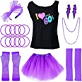 PAXCOO 80s Costumes for Women, 80s Accessories for Women with I Love The 80s T-Shirt Tutu Skirt for Party Accessory