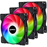 upHere オリジナル設計 高性能冷却 PCケースファン 120mm 4-Pin接続 静音 虹色LED 3本1セット【SR12-CF4-3】
