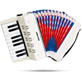 Souidmy Kids Accordion, 17 Keys 8 Bass Keyboard Toy, Mini Accordian, Musical Instruments for Early Childhood Teaching, Good G