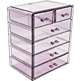 Sorbus Cosmetics Makeup and Jewelry Big Purple Storage Case Display- 4 Large and 2 Small Drawers Space- Saving, Stylish Acryl