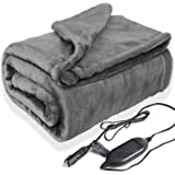 Lifetivity Machine Washable Car Heated Blanket 12 Volt Electric Travel Blanket Flannel Heating Throw for Car with Controller