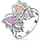 CZ Accent Cubic Zirconia Fashion Statement Pink Created Opal Butterfly Ring For Teen For Women 925 Sterling Silver