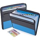 ドキュメントファイル a4 書類 分類 13ポケット ファイルケース 持ち運び 収納ボックス 整理 防水 (青い)