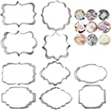 10 PCS Plaque Frame Cookie Cutters Set Different Frames Fondant Cutter Molds for Making Mousse Cake Cookies Biscuit, Fruit, B