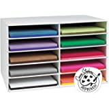 """Classroom Keepers 12"""" x 18"""" Construction Paper Storage, 10-Slot, White, 16-7/8""""H x 26-7/8""""W x 18-1/2""""D, 1 Piece"""
