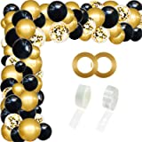 RUBFAC Black Gold Confetti Balloon Arch Garland Kit, 110 Pcs Round Party Balloon for Birthday Wedding Shower Graduation Decor