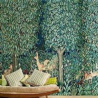 Sproud カスタムの熱帯雨林のために壁の 3D の壁画壁紙を対象に生きている大規模なフォレスト鹿トピック 200 Cmx 140 Cm との部屋のテレビの背景 3 D の壁紙