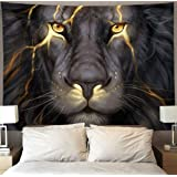 HOMESTORES Golden Cool Lion King paninting Wall Tapestry Hippie Art Tapestry Wall Hanging Home Decor Extra Large tablecloths