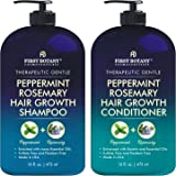 Peppermint Rosemary Hair Regrowth and Anti Hair Loss Shampoo and Conditioner Set - Daily Hydrating, Detoxifying, Volumizing S