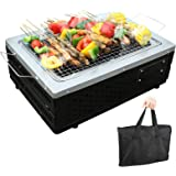 Setpower Stainless Steel Foldable Tabletop Grill Hibachi Indoor Outdoor Charcoal Barbeque Small BBQ Grill