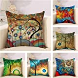 Uyis Pack of 6 Throw Pillow Covers/Cases 18x18 inches, Oil Painting Colorful Tree Pattern Decorative Pillowcases/Cusion Cover