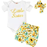 Toddler Baby Girls Sister Matching Outfits Little Big Sister Short Sleeve Top Romper + Sunflower Skirt Clothes Set