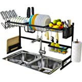 LWBIGHOME [91cm] Over Sink Dish Drying Rack Large Dish Drainer Kitchen Stainless Steel Organizer Chrome Alloy Cutlery Holder