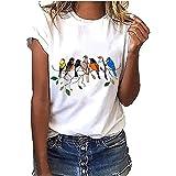 Women Print Tops Short Sleeve,Ladies Summer T-Shirt Casual Tops Korean Harajuku Style Cute Birds Tops