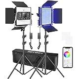 Neewer 660 RGB LEDビデオライト アプリ制御可 写真ビデオ照明セット スタンドとバッグ付き 2個調光可能LEDパネルライト CRI95 /3200K–5600K /0–360°フルカラー/ 9シーン選択