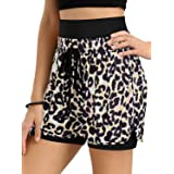 NIMIN Women's Yoga Running Shorts High Waist Leopard Camo Print 2 in 1 Workout Athletic Shorts with Pockets S-2XL