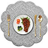 Kreatur Round Waterproof Placemats for Dining Table Set of 6,Modern PU Leather Washable Table Mats Non-Slip Easy to Clean for
