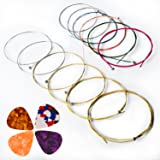 Acoustic Guitar Strings, Kinbom 2 Sets of 6 Medium Guitar Strings, 1 Gold and Silver Pack with 1 Color mixture Pack (Gift: 4