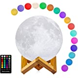 Moon Lamp - LOGROTATE 16 LED Colors, Dimmable, Rechargeable Lunar Night Light (Large, 7.1 inch) Full Set with Wooden Stand, R