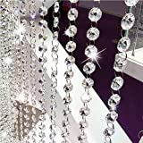 Crystal Beads Chain,Clear Crystal Garland Chandelier Octagon Beads Glass Crystal Chandelier Beads Lamp Chain for Wedding Part