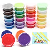 Kidsky24 Colours Modelling Magic DIY Super Light Clay, Air Dry Clay, Non-Sticky No Borax and Non Toxic Scented for Children a
