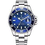スイスの自動巻きステンレスメンズ腕時計機械式夜光腕時計 (ブルー)