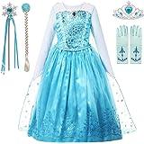 aibeiboutique Girls Princess Costume Blue Sequin Cosplay Dress up