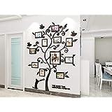 KINBEDY 3D Acrylic Tree Wall Stickers Photo Frames Family Tree Wall Decal Easy to Install &Apply DIY Photo Gallery Frame Deco