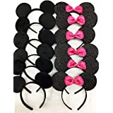 CLGIFT Set of 12 Minnie Mouse Ears, Disney Ears, Mickey Mouse Ears, Disney Theme Party, Boys and Girls One Size Fits All (6 B