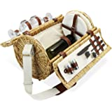2 Person Wicker Picnic Basket Set with Straps, Wine Picnic Hamper with Cutlery, Wine Glasses and Plates