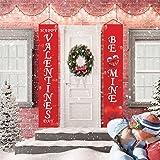 Valentine's Day Porch Sign, Outdoor Valentines Day Red Banner Decorations Front Door Banner Hanging Garland for Wedding Anniv
